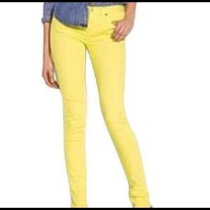 J. Crew 24 Stretch Toothpick Yellow Skinny Jeans